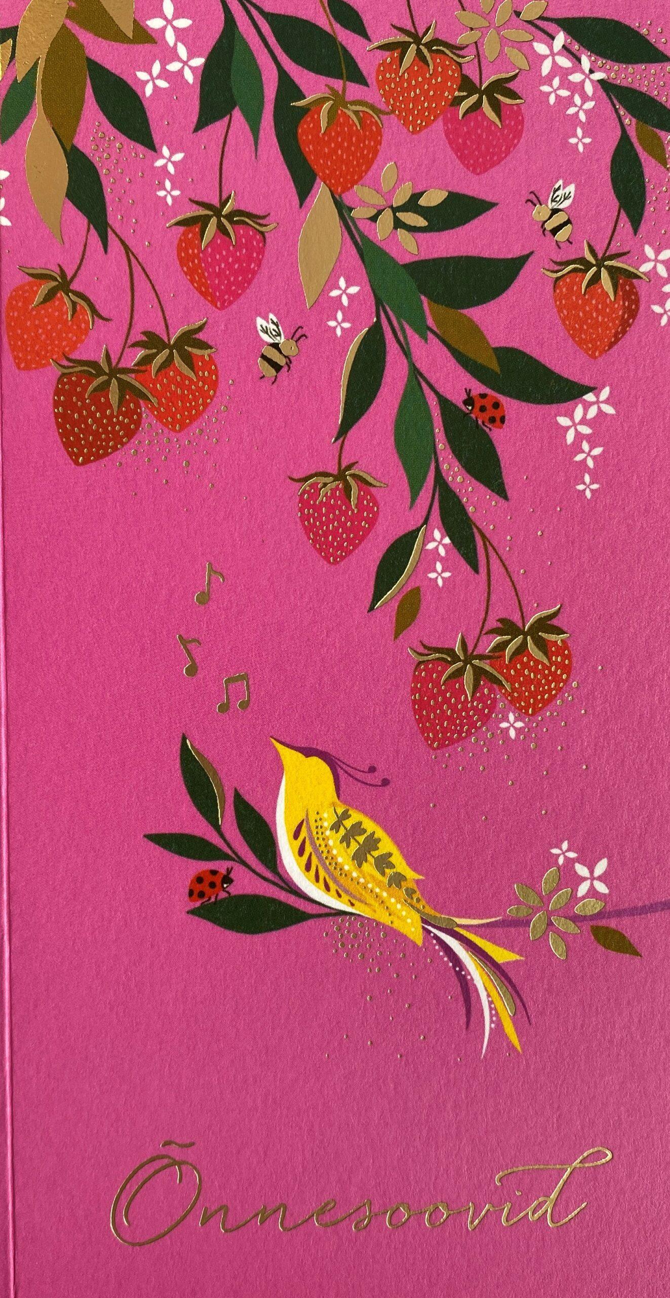 KUKU Rahakaart roosa linnuke maasikatega